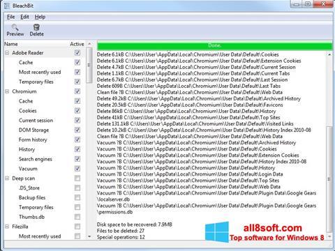 لقطة شاشة BleachBit لنظام التشغيل Windows 8