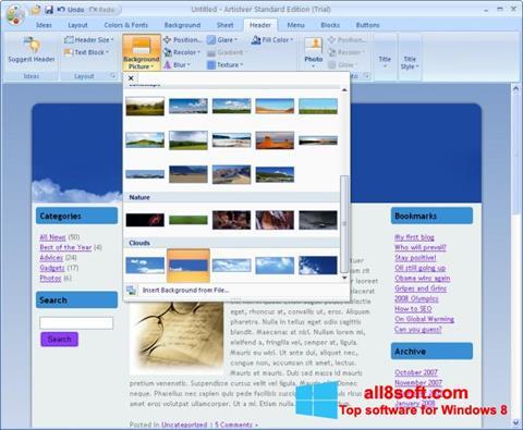 لقطة شاشة Artisteer لنظام التشغيل Windows 8