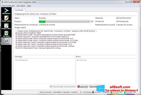 لقطة شاشة MKVToolnix لنظام التشغيل Windows 8