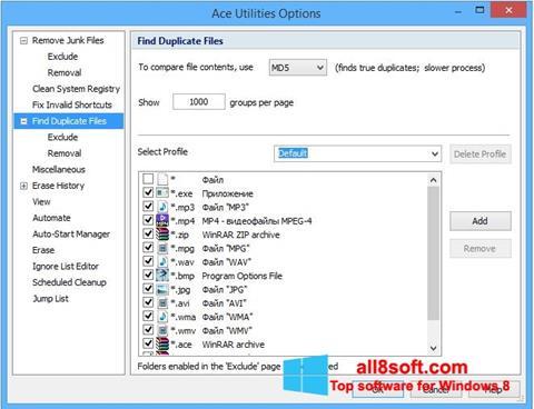 لقطة شاشة Ace Utilities لنظام التشغيل Windows 8