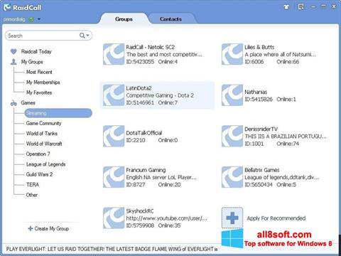 لقطة شاشة RaidCall لنظام التشغيل Windows 8