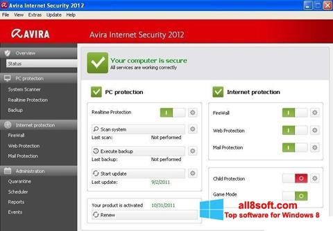 لقطة شاشة Avira Internet Security لنظام التشغيل Windows 8