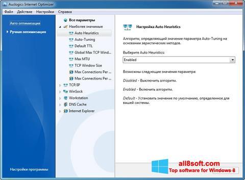 لقطة شاشة Auslogics Internet Optimizer لنظام التشغيل Windows 8