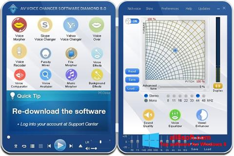 لقطة شاشة AV Voice Changer Diamond لنظام التشغيل Windows 8