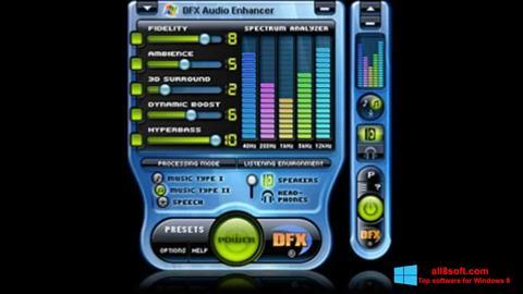 لقطة شاشة DFX Audio Enhancer لنظام التشغيل Windows 8