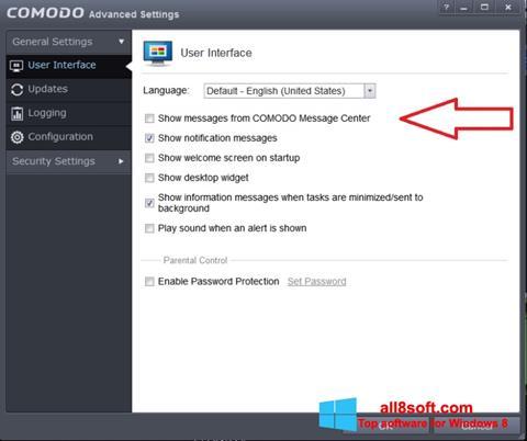 لقطة شاشة Comodo لنظام التشغيل Windows 8