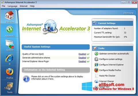 لقطة شاشة Ashampoo Internet Accelerator لنظام التشغيل Windows 8