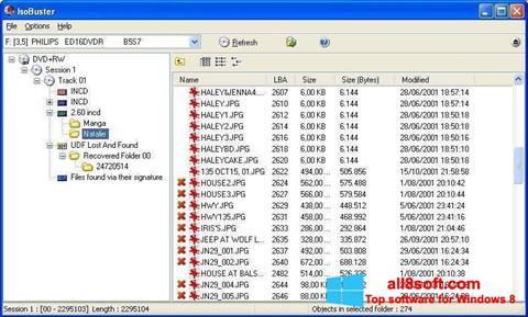 لقطة شاشة IsoBuster لنظام التشغيل Windows 8