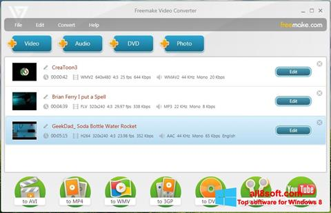 لقطة شاشة Freemake Video Converter لنظام التشغيل Windows 8