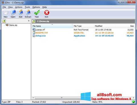 لقطة شاشة IZArc لنظام التشغيل Windows 8