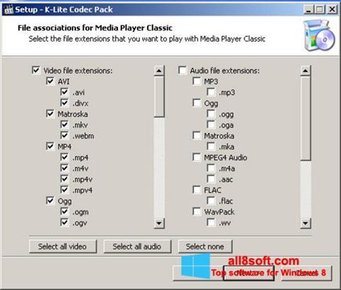لقطة شاشة K-Lite Codec Pack لنظام التشغيل Windows 8