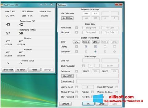 لقطة شاشة Real Temp لنظام التشغيل Windows 8