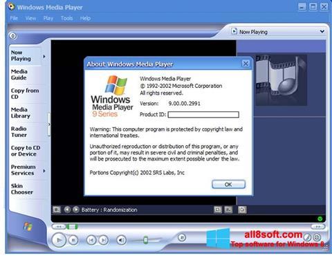 لقطة شاشة Windows Media Player لنظام التشغيل Windows 8