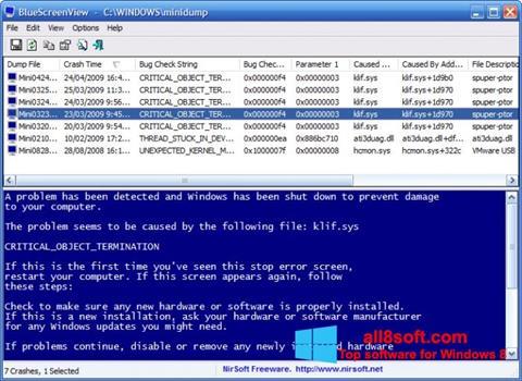 لقطة شاشة BlueScreenView لنظام التشغيل Windows 8