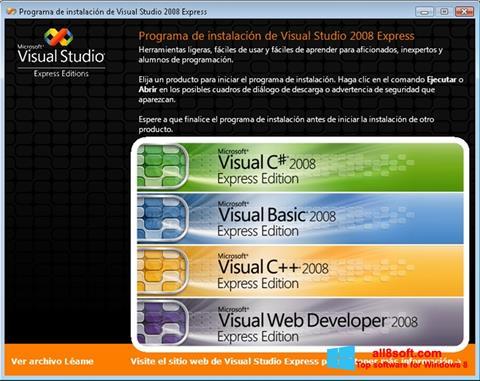 لقطة شاشة Microsoft Visual Studio لنظام التشغيل Windows 8