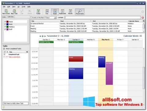 لقطة شاشة Mozilla Sunbird لنظام التشغيل Windows 8