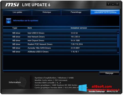 لقطة شاشة MSI Live Update لنظام التشغيل Windows 8