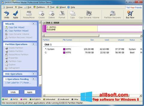 لقطة شاشة EASEUS Partition Master لنظام التشغيل Windows 8