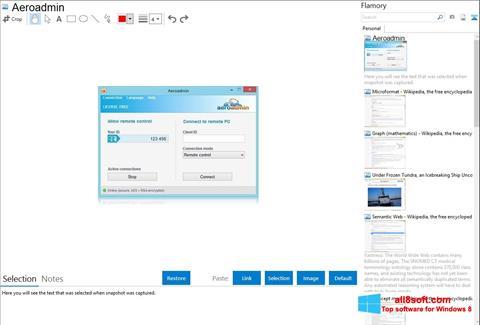 لقطة شاشة AeroAdmin لنظام التشغيل Windows 8