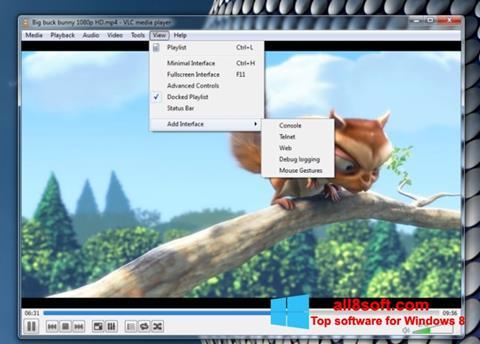 لقطة شاشة VLC Media Player لنظام التشغيل Windows 8