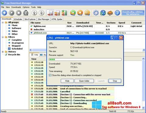 لقطة شاشة Download Master لنظام التشغيل Windows 8