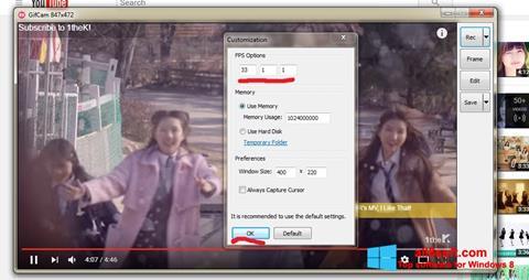 لقطة شاشة GifCam لنظام التشغيل Windows 8